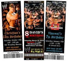 WWE RAW Smackdown Wrestlers Wrestling Wrestlemania by FancyInvites, $10.99