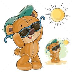 Buy Brown Teddy Bear in a Cap by vectorpocket on GraphicRiver. Vector illustration of a brown teddy bear in a cap and sunglasses enjoying the bright sun.