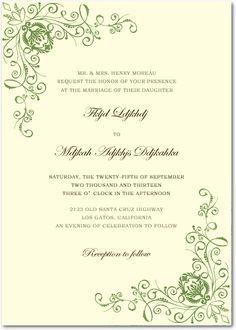 Green Animate Parasites Wedding Invitations HPI021