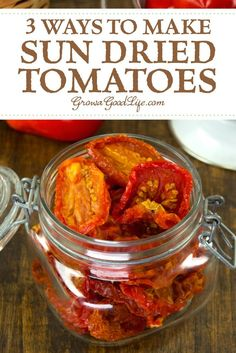 Sun dried tomatoes can be used in so many ways including sauces, soups, stews, and countless other recipes where you want a punch of deep, concentrated tomato flavor. Discover three ways to make you own sun dried tomatoes from your garden harvest. Dehydrated Vegetables, Dried Vegetables, Dehydrated Food, Veggies, Make Sun Dried Tomatoes, Cherry Tomatoes, Sauerkraut, Canning Recipes, Canning Tips