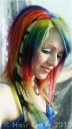 Rainbow Wild Emo Hair!