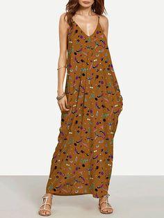 Pretty Brown Bohemia Spaghetti Straps V Neck Maxi Dress