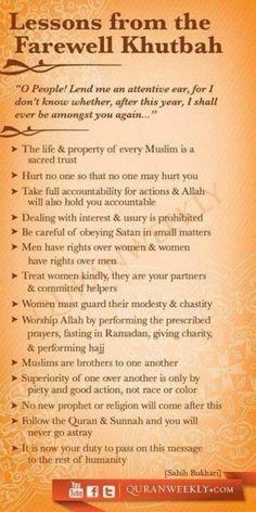 The Final Sermon of Prophet Muhammad SallAllahu Alayhi Wasallam.