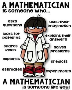 Mathematician Poster for Elementary [someone who] A mathematician is someone who - elementary classroom poster!A mathematician is someone who - elementary classroom poster! Classroom Posters, Math Classroom, Math Teacher, Teaching Math, Teacher Signs, Math Resources, Math Activities, Math Games, Maths Guidés