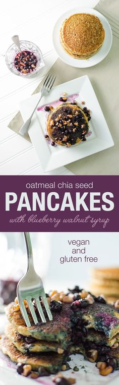 Oatmeal Chia Pancakes with blueberry walnut syrup - vegan and gluten free | Veggieprimer.com #veganbreakfast #pancakes