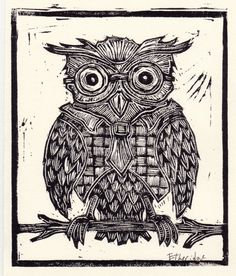 Today's #Pokerface - Live Poker - IOS  Android - Live Multiplayer www.abzorbagames.com #Games #Free OWL wearing EYEGLASSES and CHECKERED vest, black and white linocut print on paper, children's art