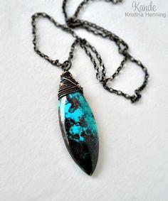 Chrysocolla Large Stone Necklace Turquoise Blue Black Wire Wrapped Oxidized Silver Pendant Kande Statement Necklace Gemstone via Etsy.