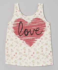 This Ivory 'Love' Floral Heart Tank - Girls by Modern Lux is perfect! #zulilyfinds