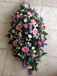 3 ft coffin spray pink white and lilac flowers Funeral Floral Arrangements, Large Flower Arrangements, Casket Flowers, Funeral Flowers, Funeral Caskets, Funeral Sprays, Casket Sprays, Funeral Tributes, Memorial Flowers