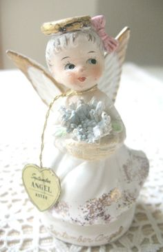 SALE Vintage September Birthday Angel Aster by Vintagegirlsfinds, $11.00 On Sale ~ Reg. 13.00