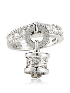 bulgari parentisi 18k white gold u0026 diamond charm ring httpwww