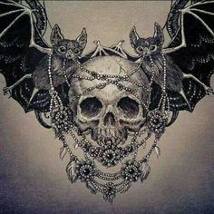 Vampires by Julia Vysotskaya. I would love this as a chest tattoo, but switch the bats for crows, take away vampire teeth on the skull and and color, like with flowers or something. Tattoos Skull, Star Tattoos, Celtic Tattoos, Body Art Tattoos, Wing Tattoos, Sleeve Tattoos, Animal Tattoos, Dragon Tattoos, Sternum Tattoo