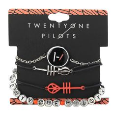 Twenty One Pilots Blurryface Bracelet 4 Pack | Hot Topic ($11) ❤ liked on Polyvore featuring jewelry, bracelets, bracelet bangle e bracelet jewelry