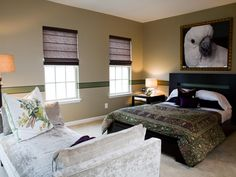 This contemporary bedroom by designer Patrick Baglino Jr. features plenty of space for lounging with a daybed and a traditional bed. The patterns on the bed linens and crushed velvet fabric on the chaise add texture to the room while the green-painted stripe that begins behind the headboard flows along the walls as a re-interpretation of the traditional chair rail. The entire space is watched over by a limited edition photograph of a cockatoo, which creates a focal point in the room and ...