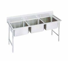"""Advance Tabco Regaline Sink three Cmpt. 20"""" - 94-23-60    Regaline Sink, three compartment, 20"""" front-to-back x 20"""" W compartment, 14"""" deep, with 11"""" high splash, s/s open frame base, boxed crossrails, s/s bullet feet, 14/304 stainless steel, overall 27"""" F/B x 74"""" L/R"""