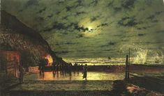 "John Atkinson Grimshaw, ""The Harbour Flare"" 1879 Fantasy Paintings, Paintings I Love, Landscape Paintings, Landscapes, Nocturne, Atkinson Grimshaw, Moonlight Painting, Great Works Of Art, Painting Workshop"
