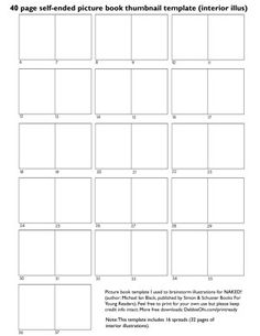 Free Picture Book Thumbnail Templates for Writers and Illustrators - Inkygirl: Guide For Kidlit/YA Writers & Artists - via @inkyelbows
