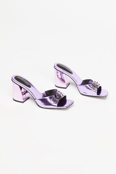 '80s babe — channel a young Carrie Bradshaw with these metallic purple stunners — a tulle skirt in tow, of course. // Alicia Mule | Free People