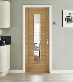 Linear Oak glazed door for kitchen.