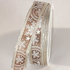 Festive Caramel Brown and Silver Snowstars Wired Craft Ribbon 075 x 44 Yards * Check this awesome product by going to the link at the image.