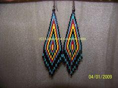 Black ,Turquoise,Red Yellow bugle seed bead earrings | EagleplumeCreations - Jewelry on ArtFire