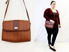 Vintage - 'Liz Claiborne' Brown Stripe Cross Body Adjustable Strap Purse by TheCurvyElle, $20.00