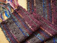 multi colour warp with chocolate brown weft, nice for a winter wool weave