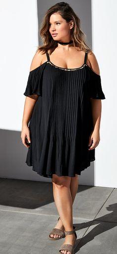 Plus Size Embellished Gauze Cold Shoulder Dress