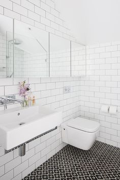 subway tile bathroom dark grout - Google Search