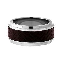 Edward Mirell Leather-like Carbon Fiber Men's Band. Marsala Color.