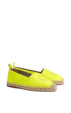 Medium anya hindmarch yellow espadrilles smiley in neon yellow tumbled calf