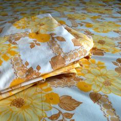 Vintage Double Bed Sheet  Yellow Flowers by VintageTinyIsland
