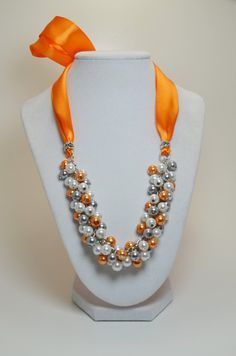 White Gray and Orange Cluster Necklace Pearl Cluster by Eienblue