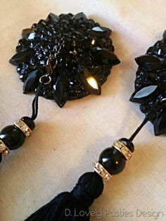 Back to black burlesque pasties by DLovelyPastiesDesign on Etsy