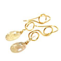 White Sapphire Earrings Gold Vermeil Loop Drop Rose Cut Wire Wrapped Gemstone Jewelry