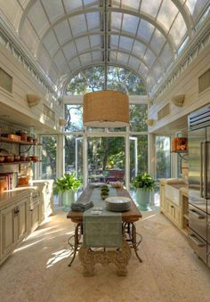 French Kitchen - atrium ceiling, materials, natural lighting