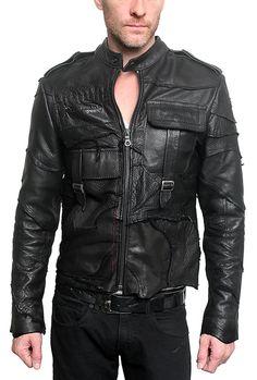 "front Men's JUNKER - ""POLICE"" Custom Leather Jacket - J Ransom Clothing Store"