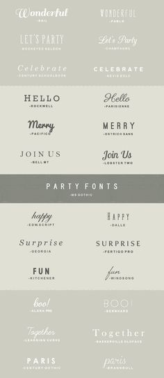 """Lovely combos and their sources. """"Party fonts"""" Some for free, some for purchase."""