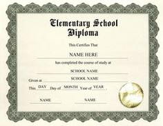 elementary school diploma printable free download elementary school diploma free template