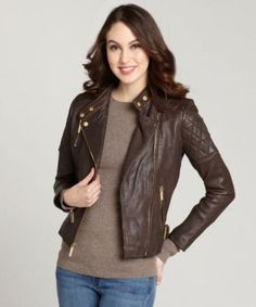 a79ca50001a6 New Women Leather Jacket Genuine Lambskin Designer Biker Ladies Slim   GF7229 Chokoladebrun