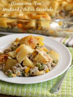 This satisfying Meat and Potatoes Casserole features ground beef or turkey sauteed with vegetables, covered in potatoes, and smothered in a creamy sauce.