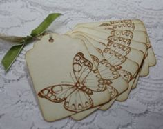 Handmade Vintage Style Butterfly Gift Tags - Ivory Wedding Favor
