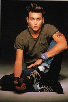 "Johnny Depp 1987 for TV's original 21JumpSt (Fox); tag line was ""Too cool for school."" http://www.imdb.com/title/tt0092312/?ref_=sr_3"