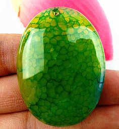 Beautiful Unique green Dragon Veins Agate oval pendant bead A3464