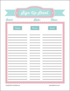 Free Printable Potluck Sign Up Sheet Pdf From VertexCom