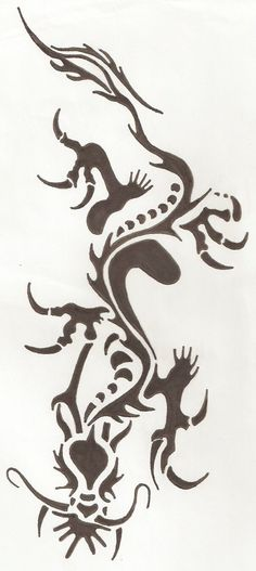 "tribal dragon - MEANING?? Want to have this one, but with some red and a white strip - ""diving dragon"""