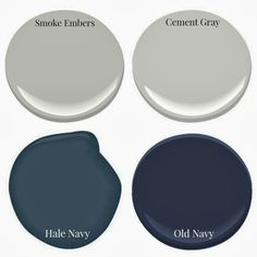 Favorite navy & neutral paint picks! Navy Accent Walls, Navy Walls, Accent Wall Bedroom, Benjamin Moore Smoke, Hale Navy Benjamin Moore, Room Paint Colors, Wall Colors, House Colors, Navy Paint