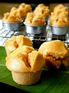 Indonesian steam cupcakes from coconut brown sugar - Kue Mangkok Gula Merah