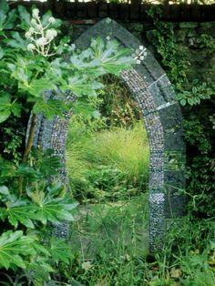 Mosaic Garden Mirror Placed on Wall October Photographic Print Love Garden, Dream Garden, Shade Garden, Multimedia, Lush, Outdoor Mirror, Outdoor Decor, Garden Mirrors, Mirrors In Gardens