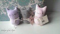 SALE, Three kitties in pastel colours.Decorative Toy.Room Ornament.Christmas or Birthday present. Cat lover's gift. Fabric Cat (code:PCC301)...